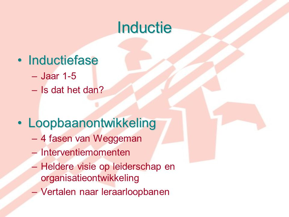 Inductie InductiefaseInductiefase –Jaar 1-5 –Is dat het dan? LoopbaanontwikkelingLoopbaanontwikkeling –4 fasen van Weggeman –Interventiemomenten –Held