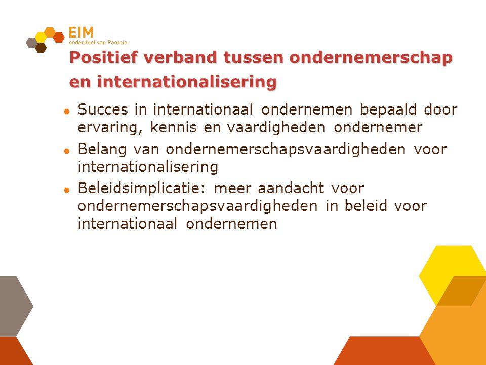 Positief verband tussen ondernemerschap en internationalisering Succes in internationaal ondernemen bepaald door ervaring, kennis en vaardigheden ondernemer Belang van ondernemerschapsvaardigheden voor internationalisering Beleidsimplicatie: meer aandacht voor ondernemerschapsvaardigheden in beleid voor internationaal ondernemen