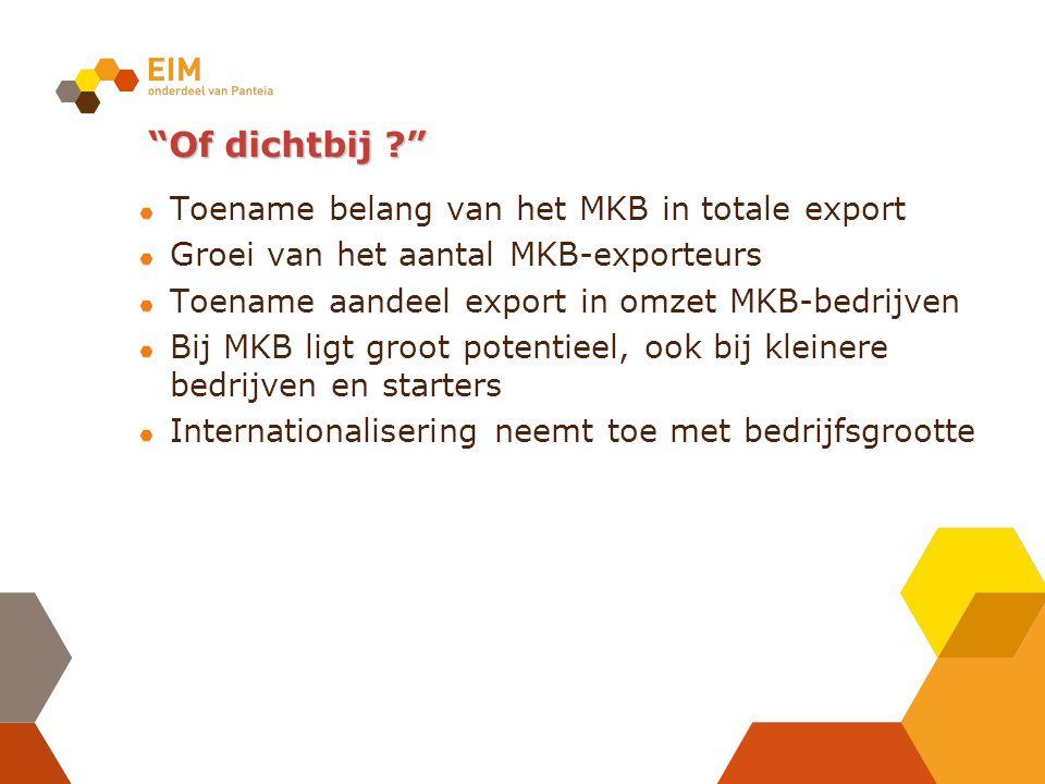 """""""Of dichtbij ?"""" Toename belang van het MKB in totale export Groei van het aantal MKB-exporteurs Toename aandeel export in omzet MKB-bedrijven Bij MKB"""