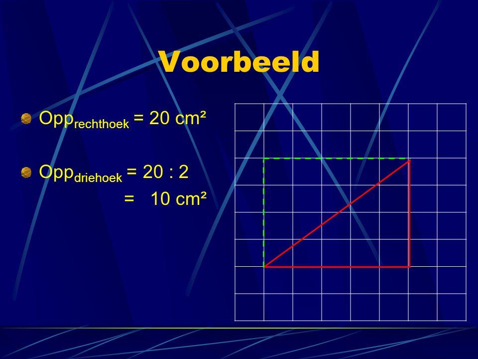 Voorbeeld Opp rechthoek = 20 cm² Opp driehoek = 20 : 2 = 10 cm²