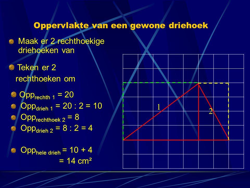 Oppervlakte van een gewone driehoek Maak er 2 rechthoekige driehoeken van Teken er 2 rechthoeken om Opp rechth 1 = 20 Opp drieh 1 = 20 : 2 = 10 Opp re
