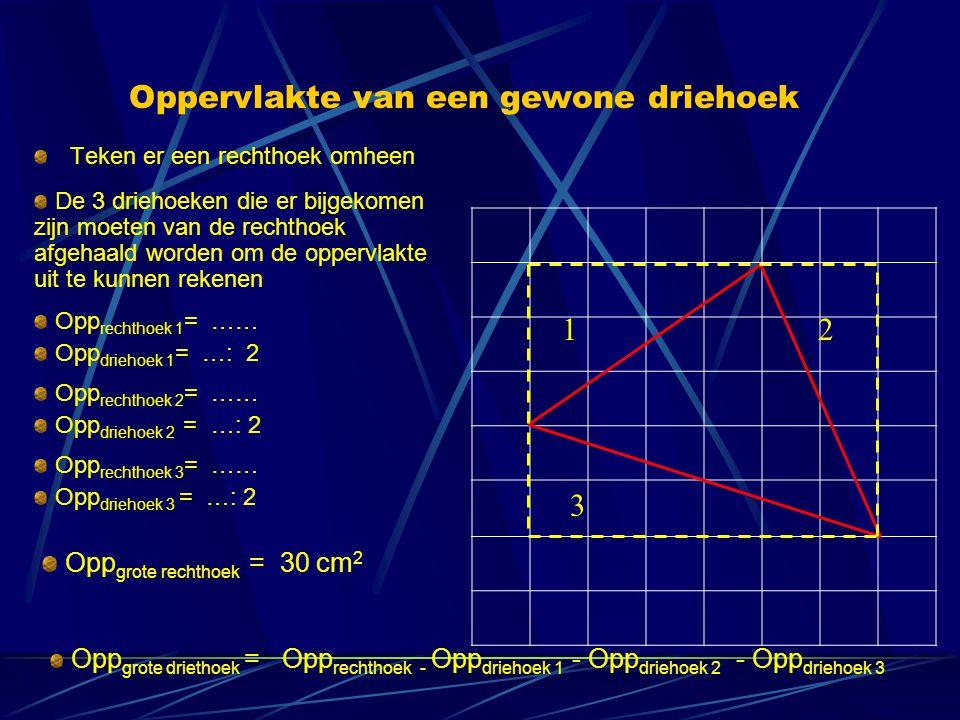Oppervlakte van een gewone driehoek Teken er een rechthoek omheen De 3 driehoeken die er bijgekomen zijn moeten van de rechthoek afgehaald worden om d