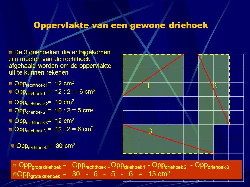 Oppervlakte van een gewone driehoek De 3 driehoeken die er bijgekomen zijn moeten van de rechthoek afgehaald worden om de oppervlakte uit te kunnen re