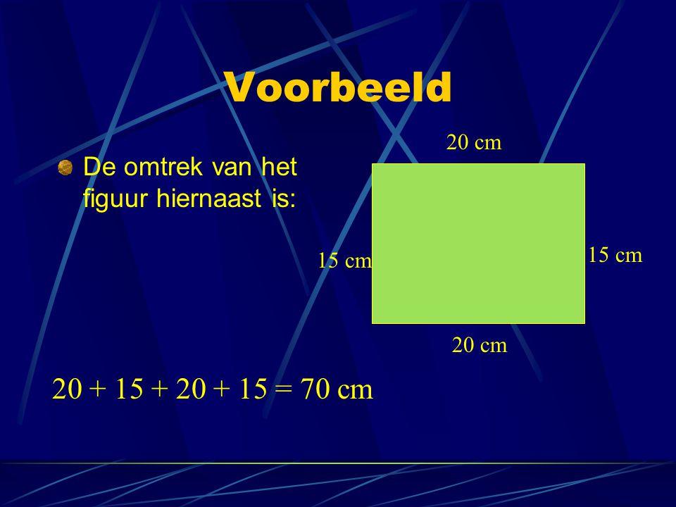 Voorbeeld De omtrek van het figuur hiernaast is: 20 cm 15 cm 20 + 15 + 20 + 15 = 70 cm 20 cm 15 cm
