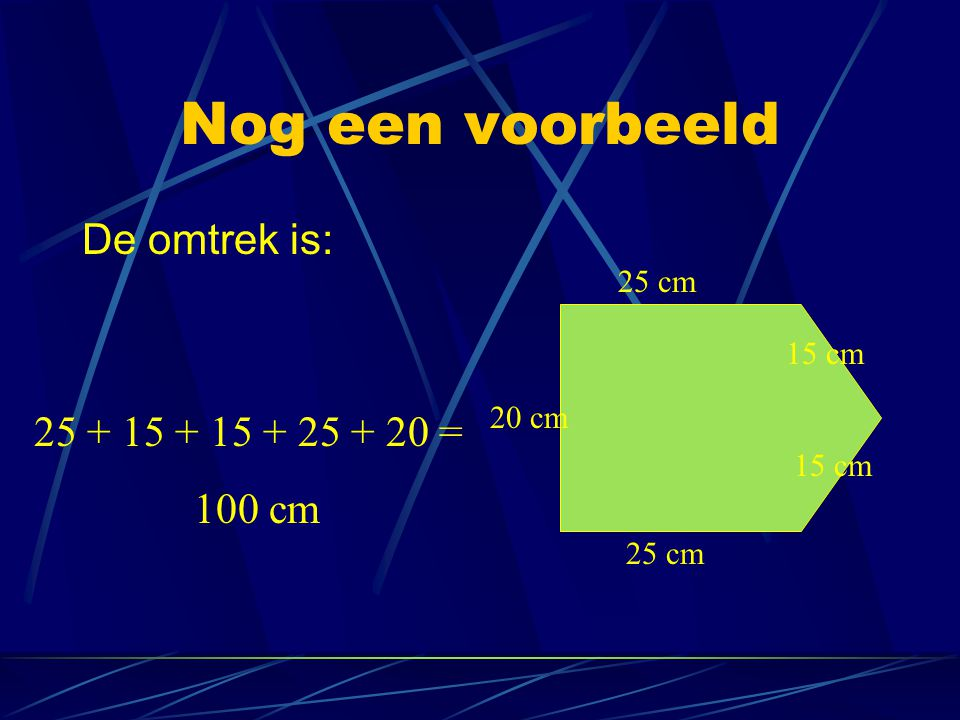 Oppervlakte van een gewone driehoek De 3 driehoeken die er bijgekomen zijn moeten van de rechthoek afgehaald worden om de oppervlakte uit te kunnen rekenen Opp rechthoek 1 = 12 cm 2 Opp driehoek 1 = 12 : 2 = 6 cm 2 1 2 3 Opp rechthoek 2 = 10 cm 2 Opp driehoek 2 = 10 : 2 = 5 cm 2 Opp rechthoek 3 = 12 cm 2 Opp driehoek 3 = 12 : 2 = 6 cm 2 Opp grote driehoek = Opp rechthoek - Opp driehoek 1 - Opp driehoek 2 - Opp driehoek 3 Opp grote driehoek = 30 - 6 - 5 - 6 = 13 cm 2 Opp rechthoek = 30 cm 2