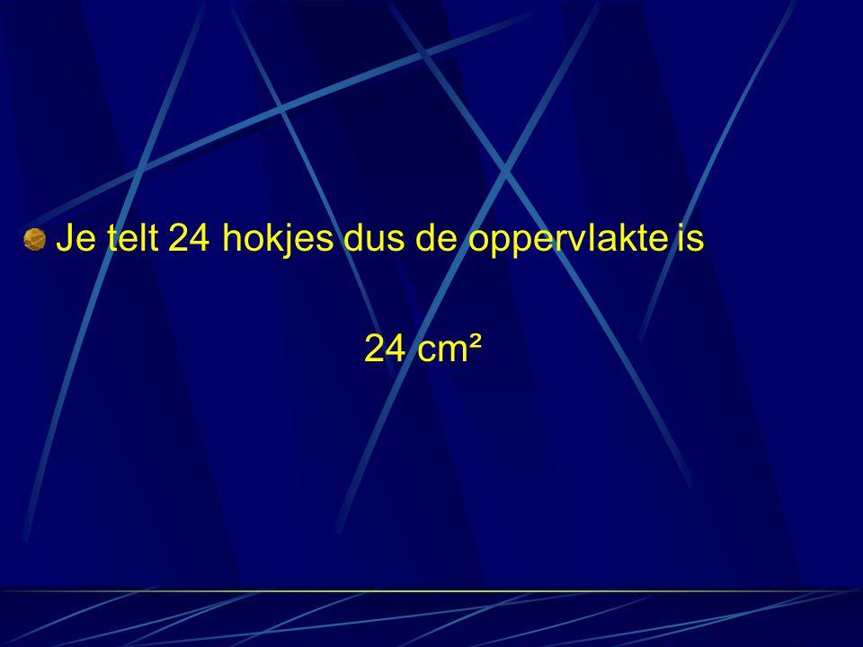 Je telt 24 hokjes dus de oppervlakte is 24 cm²