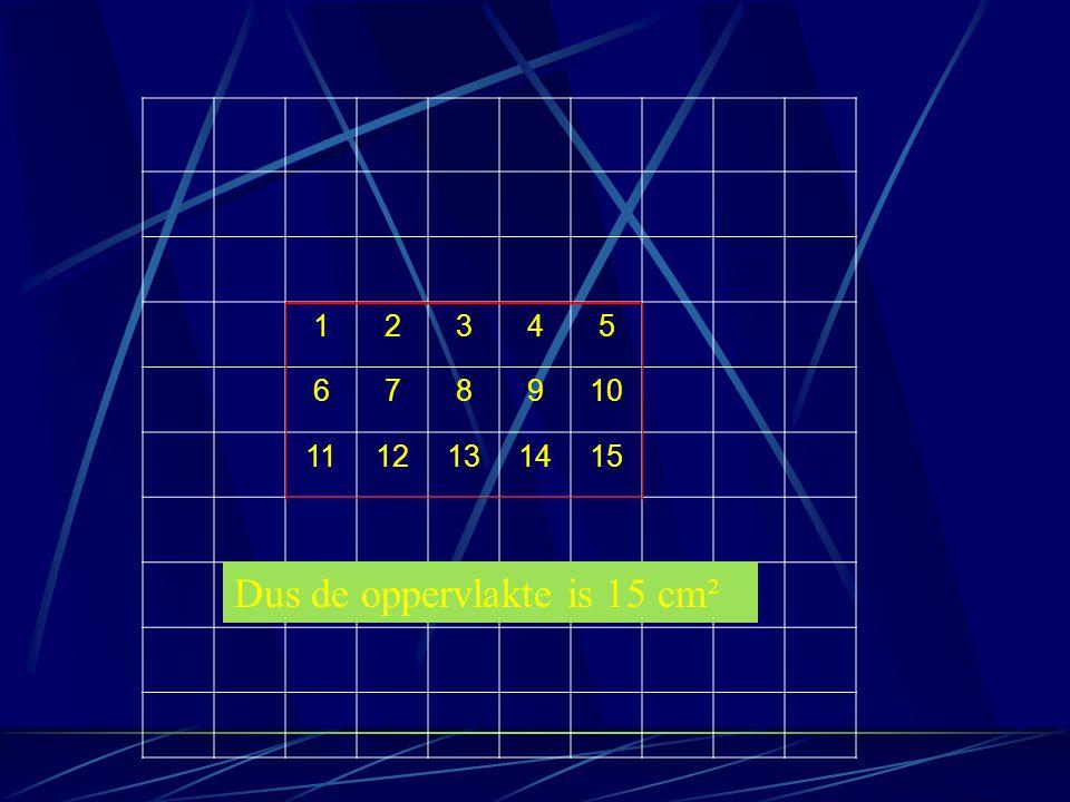 Oppervlakte van een rechthoekige driehoek Teken eerst een rechthoek erom Tel de oppervlakte van de rechthoek en schrijf dat op De oppervlakte van de driehoek is de oppervlakte van de rechthoek : 2
