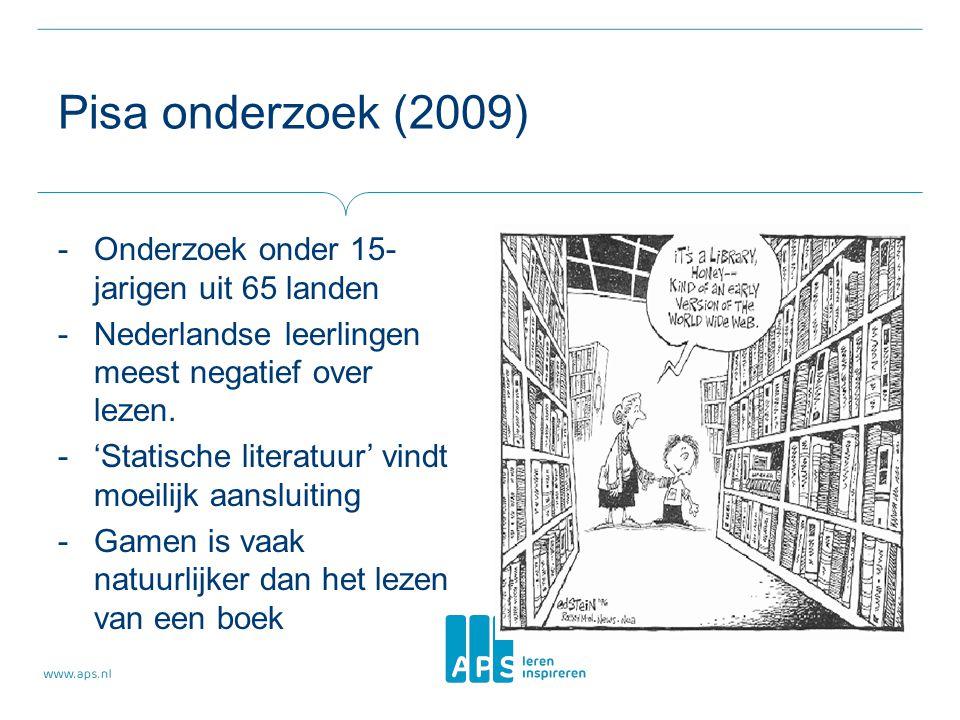 Pisa onderzoek (2009) -Onderzoek onder 15- jarigen uit 65 landen -Nederlandse leerlingen meest negatief over lezen. -'Statische literatuur' vindt moei