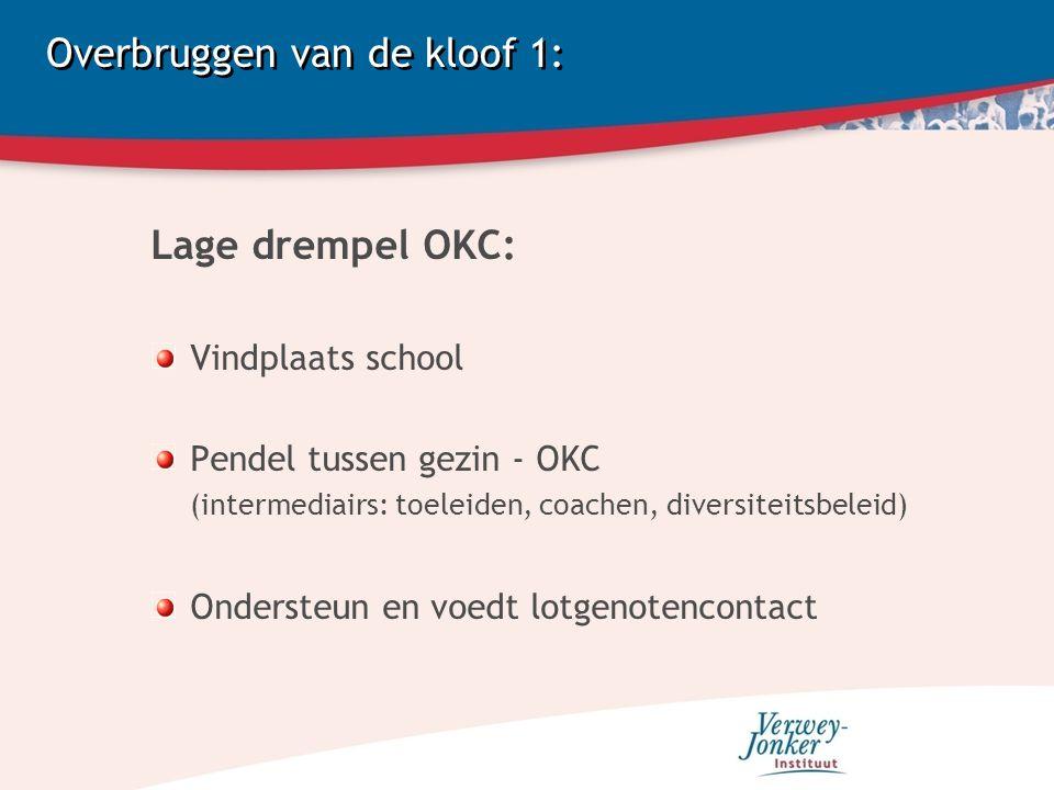 Overbruggen van de kloof 1: Lage drempel OKC: Vindplaats school Pendel tussen gezin - OKC (intermediairs: toeleiden, coachen, diversiteitsbeleid) Ondersteun en voedt lotgenotencontact