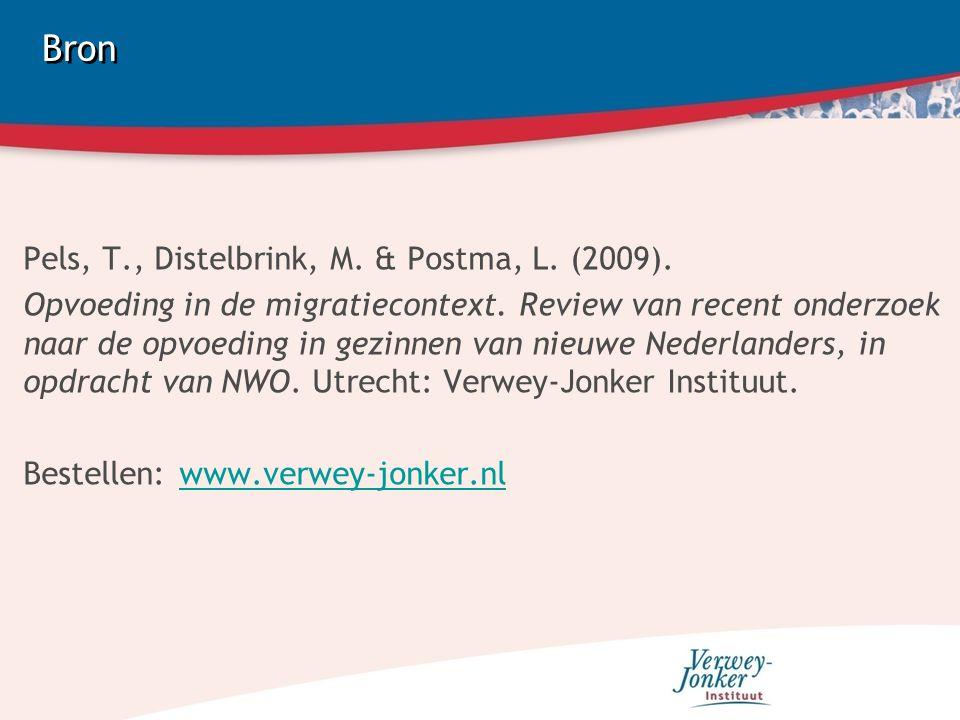 Bron Pels, T., Distelbrink, M. & Postma, L. (2009). Opvoeding in de migratiecontext. Review van recent onderzoek naar de opvoeding in gezinnen van nie