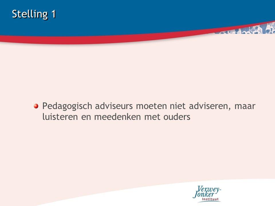 Stelling 1 Pedagogisch adviseurs moeten niet adviseren, maar luisteren en meedenken met ouders