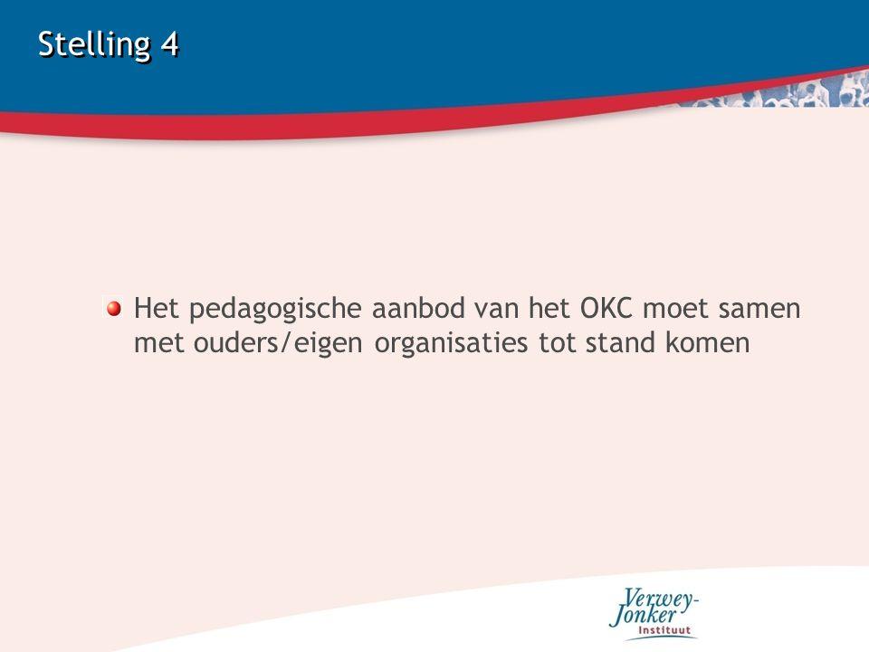 Stelling 4 Het pedagogische aanbod van het OKC moet samen met ouders/eigen organisaties tot stand komen