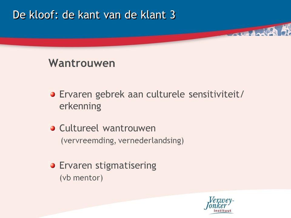De kloof: de kant van de klant 3 Wantrouwen Ervaren gebrek aan culturele sensitiviteit/ erkenning Cultureel wantrouwen (vervreemding, vernederlandsing) Ervaren stigmatisering (vb mentor)