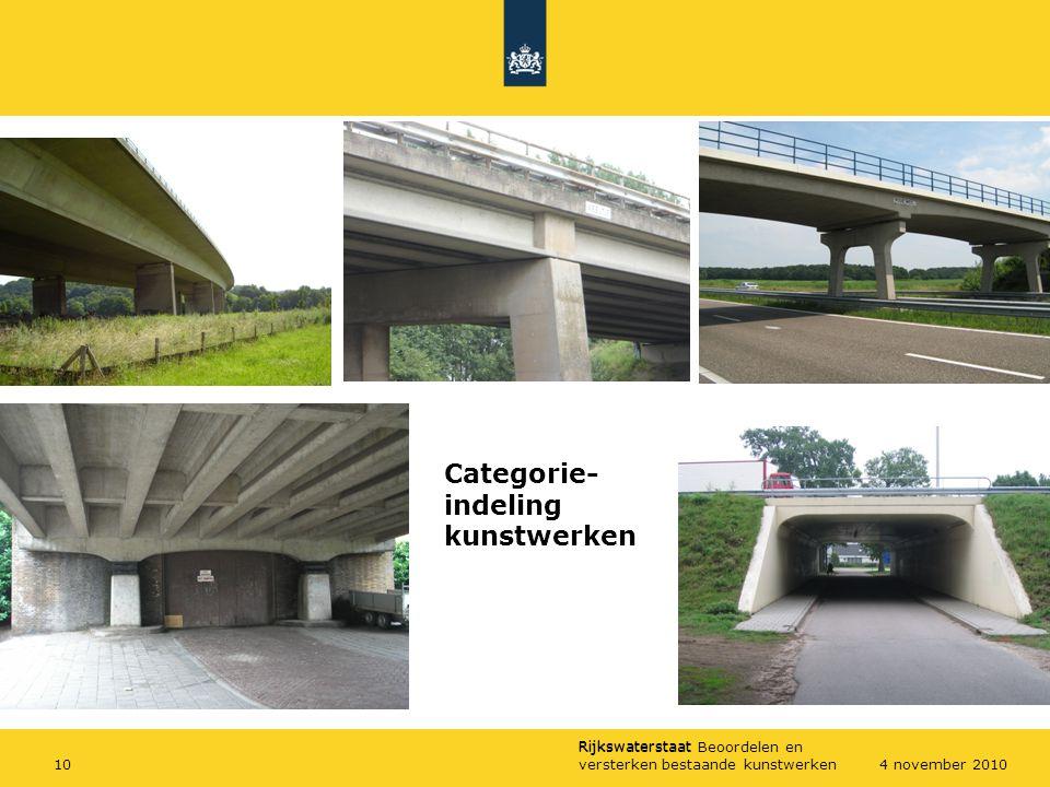 Rijkswaterstaat Rijkswaterstaat Beoordelen en versterken bestaande kunstwerken104 november 2010 Categorie- indeling kunstwerken