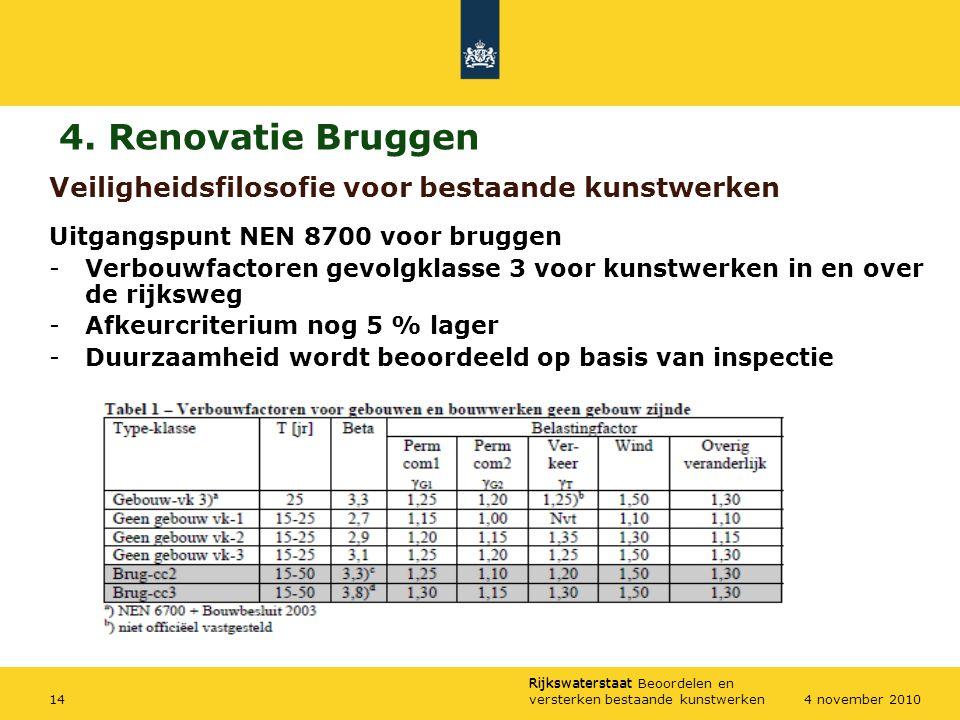 Rijkswaterstaat Rijkswaterstaat Beoordelen en versterken bestaande kunstwerken144 november 2010 Veiligheidsfilosofie voor bestaande kunstwerken Uitgan