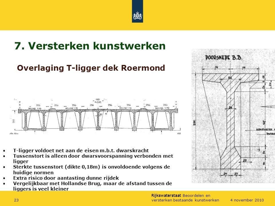 Rijkswaterstaat Rijkswaterstaat Beoordelen en versterken bestaande kunstwerken234 november 2010 7. Versterken kunstwerken Overlaging T-ligger dek Roer