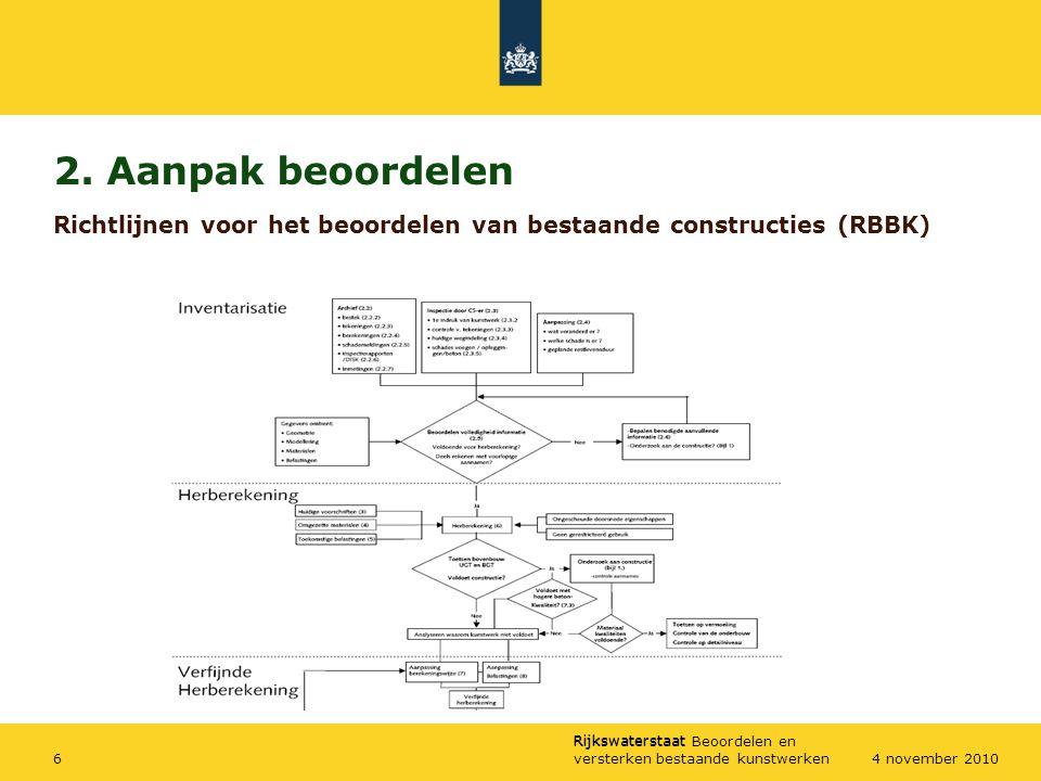 Rijkswaterstaat Rijkswaterstaat Beoordelen en versterken bestaande kunstwerken64 november 2010 2. Aanpak beoordelen Richtlijnen voor het beoordelen va