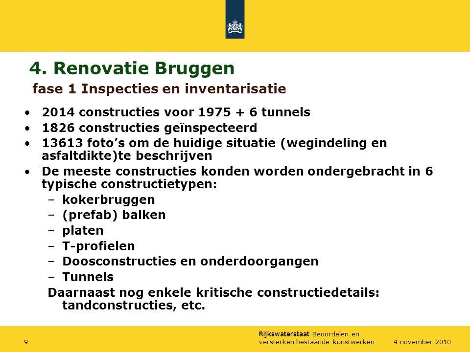 Rijkswaterstaat Rijkswaterstaat Beoordelen en versterken bestaande kunstwerken94 november 2010 4. Renovatie Bruggen 2014 constructies voor 1975 + 6 tu