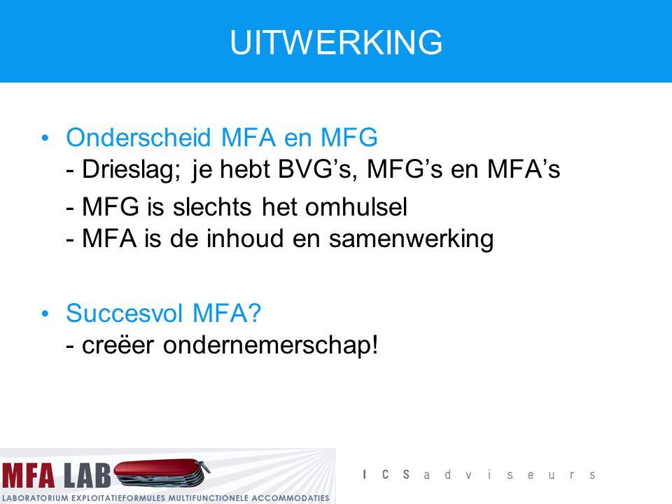 Onderscheid MFA en MFG - Drieslag; je hebt BVG's, MFG's en MFA's - MFG is slechts het omhulsel - MFA is de inhoud en samenwerking Succesvol MFA? - cre