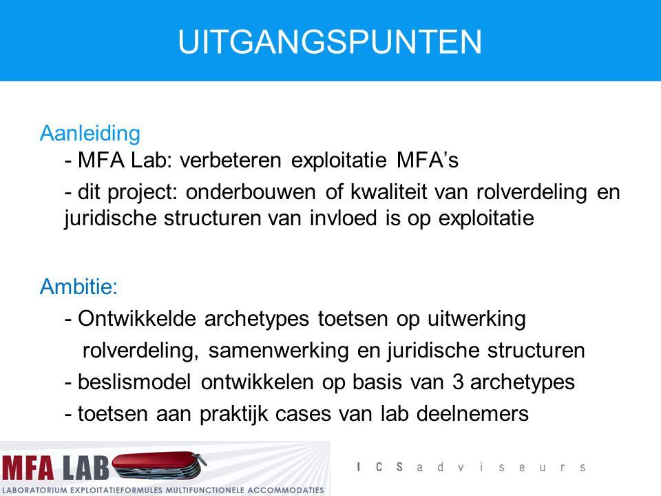 UITGANGSPUNTEN Aanleiding - MFA Lab: verbeteren exploitatie MFA's - dit project: onderbouwen of kwaliteit van rolverdeling en juridische structuren va