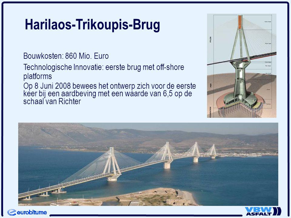 Bouwkosten: 860 Mio. Euro Technologische Innovatie: eerste brug met off-shore platforms Op 8 Juni 2008 bewees het ontwerp zich voor de eerste keer bij