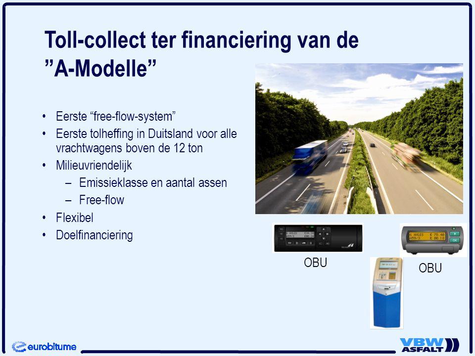 Eerste free-flow-system Eerste tolheffing in Duitsland voor alle vrachtwagens boven de 12 ton Milieuvriendelijk – –Emissieklasse en aantal assen – –Free-flow Flexibel Doelfinanciering OBU Toll-collect ter financiering van de A-Modelle