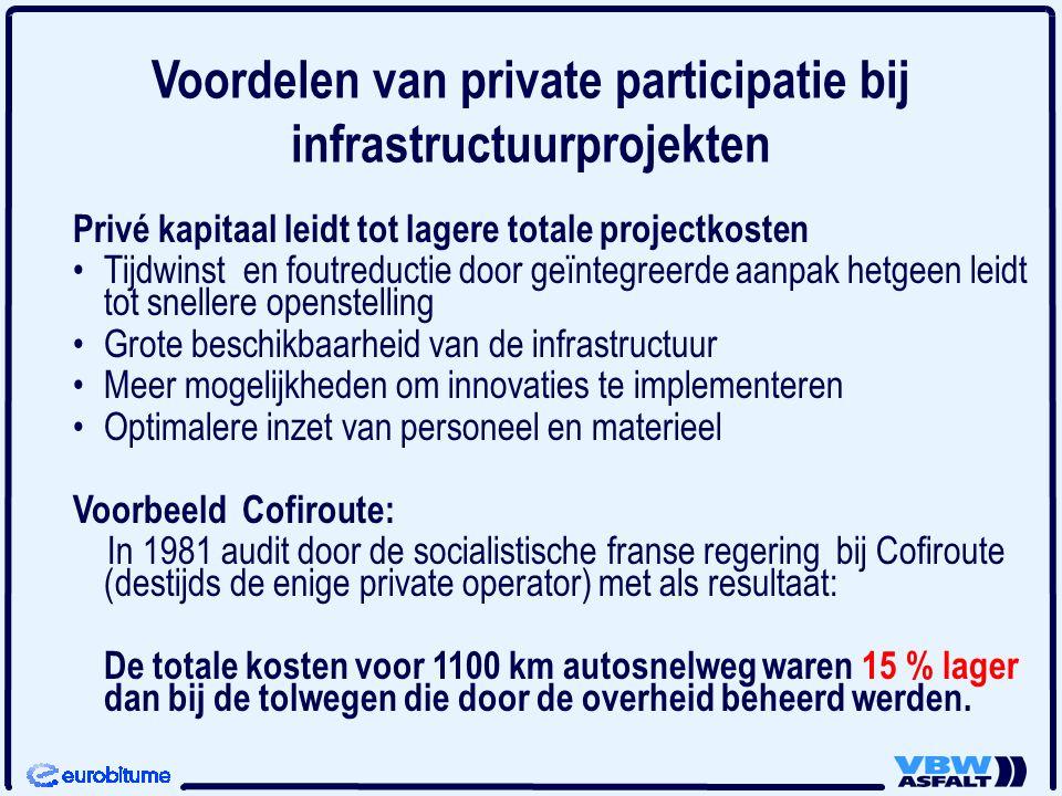 Voordelen van private participatie bij infrastructuurprojekten Privé kapitaal leidt tot lagere totale projectkosten Tijdwinst en foutreductie door geï