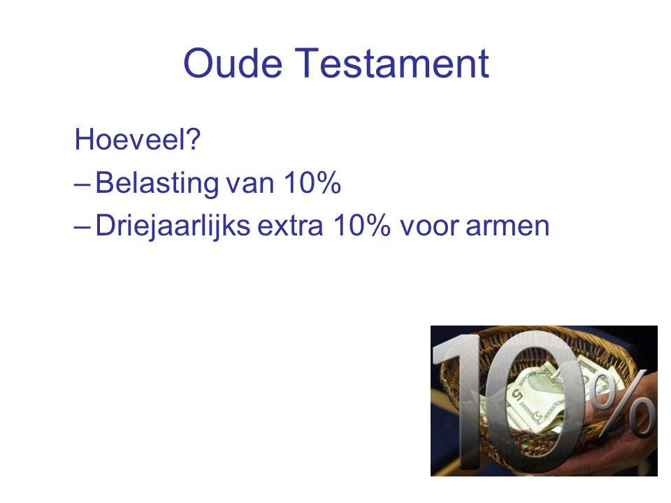 Oude Testament Hoeveel –Belasting van 10% –Driejaarlijks extra 10% voor armen