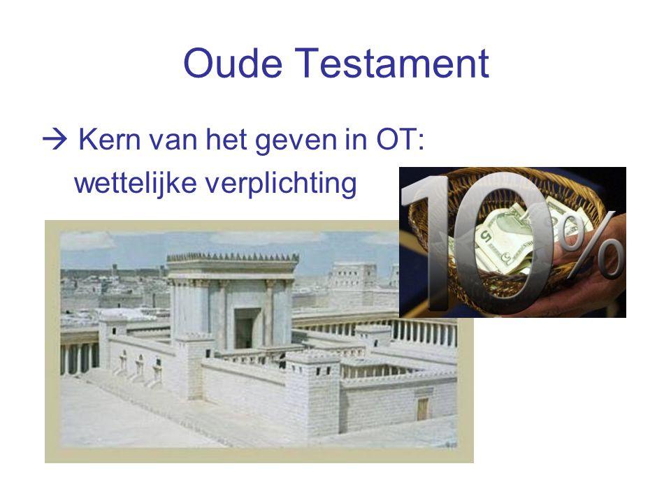 Oude Testament  Kern van het geven in OT: wettelijke verplichting