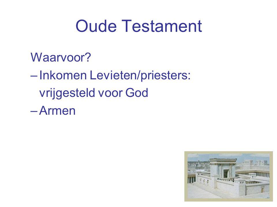 Oude Testament Waarvoor –Inkomen Levieten/priesters: vrijgesteld voor God –Armen