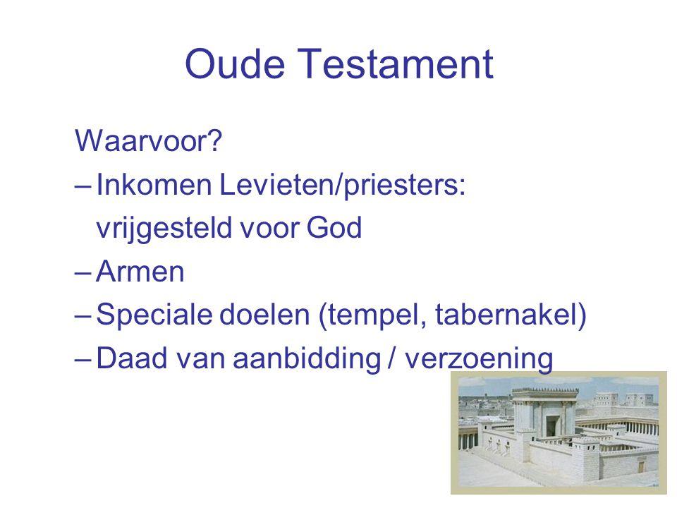 Nieuwe Testament  Kern van geven in NT: principes –vrijwillig –gul –uit gemeenschapszin