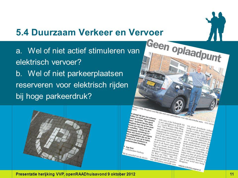 Presentatie herijking VVP, openRAADhuisavond 9 oktober 201211 5.4 Duurzaam Verkeer en Vervoer a.Wel of niet actief stimuleren van elektrisch vervoer.