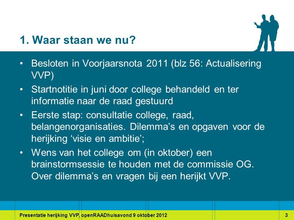 Presentatie herijking VVP, openRAADhuisavond 9 oktober 20124 2.