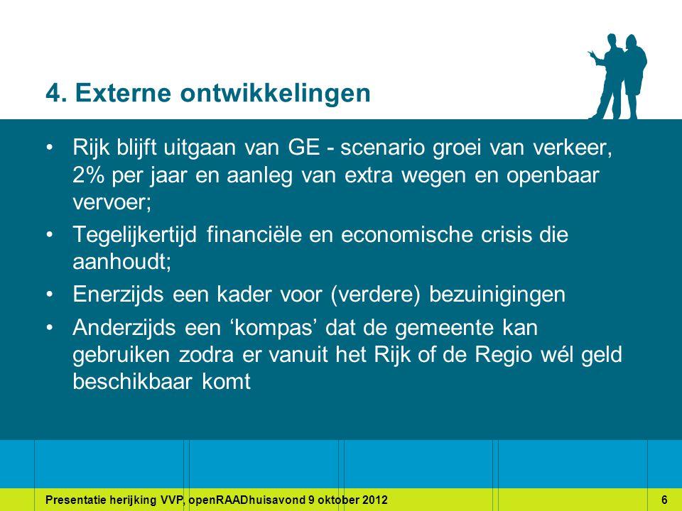 Presentatie herijking VVP, openRAADhuisavond 9 oktober 20127 5. Dilemma's en opgaven