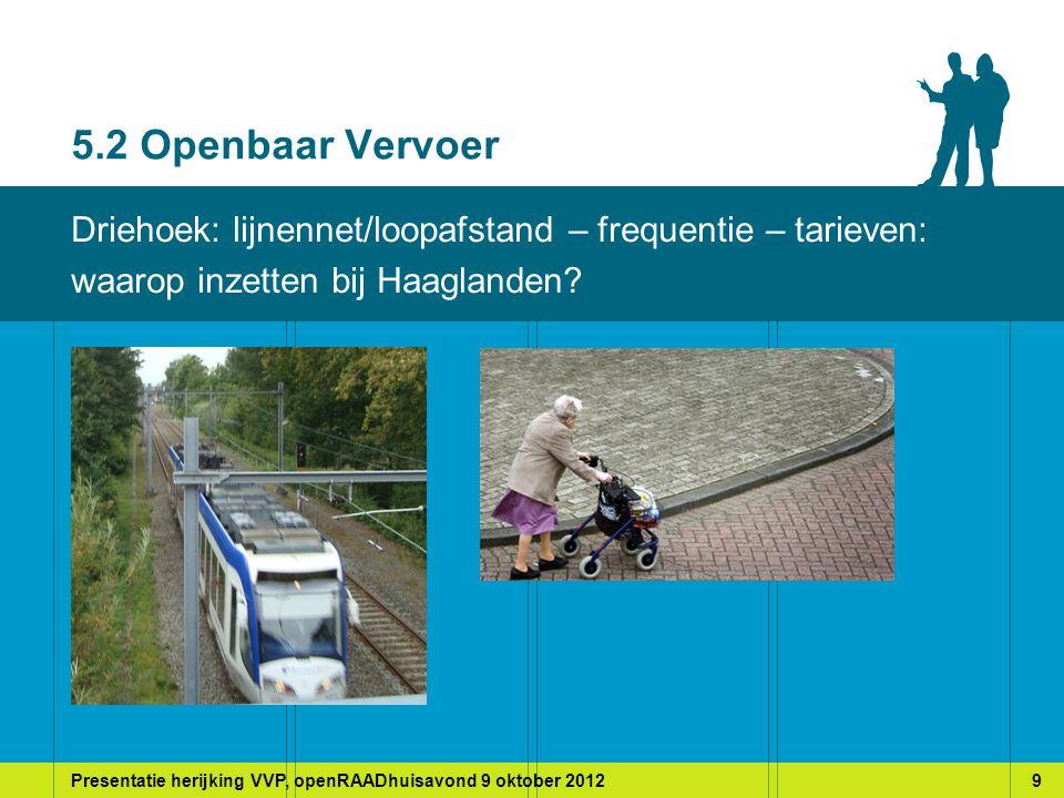Presentatie herijking VVP, openRAADhuisavond 9 oktober 20129 5.2 Openbaar Vervoer Driehoek: lijnennet/loopafstand – frequentie – tarieven: waarop inzetten bij Haaglanden