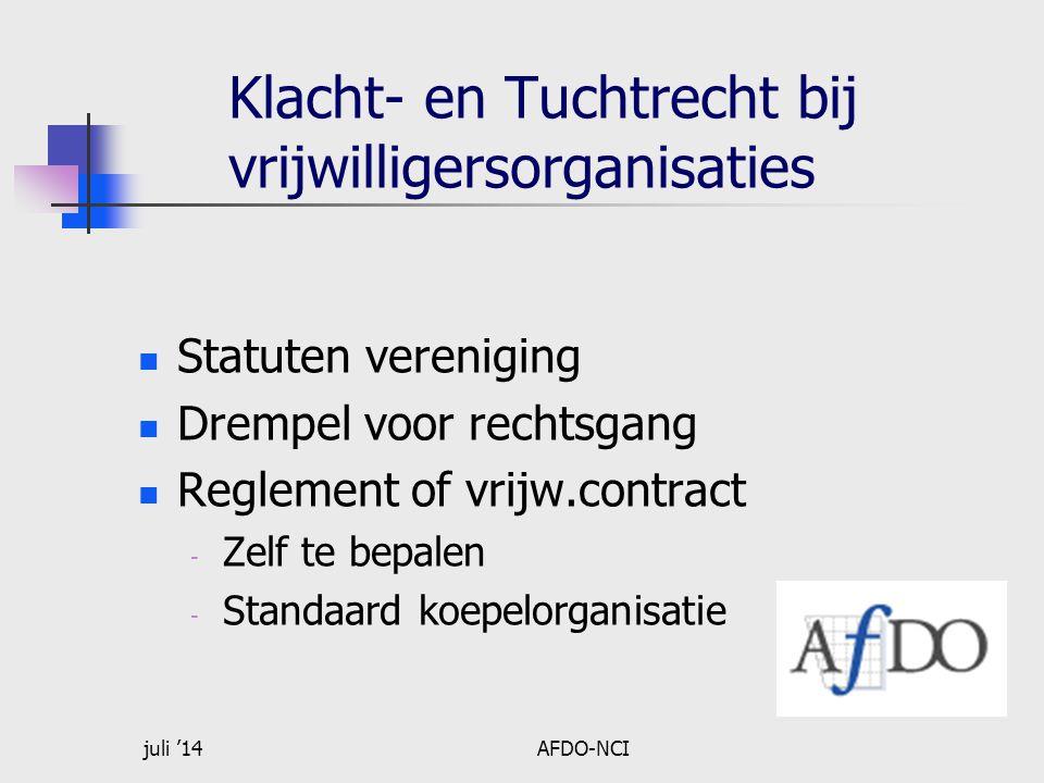 juli '14AFDO-NCI Klacht- en Tuchtrecht bij vrijwilligersorganisaties Statuten vereniging Drempel voor rechtsgang Reglement of vrijw.contract - Zelf te bepalen - Standaard koepelorganisatie