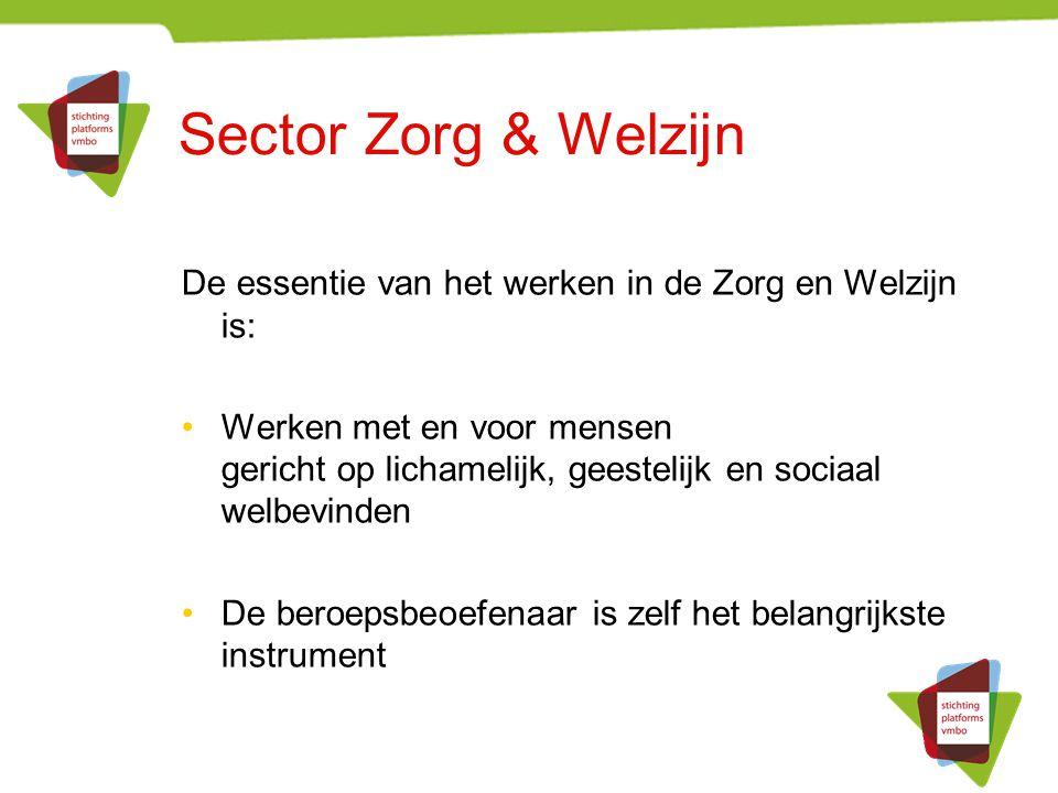 Vijf werkvelden in Zorg & Welzijn Gezondheidszorg Welzijn, inclusief Onderwijs Sport en bewegen Facilitaire dienstverlening Uiterlijke Verzorging
