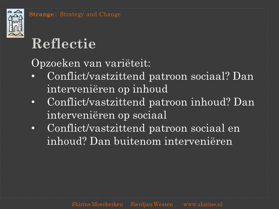 Strange | Strategy and Change Shirine Moerkerken Sierdjan Westenwww.shirine.nl Reflectie Opzoeken van variëteit: Conflict/vastzittend patroon sociaal?