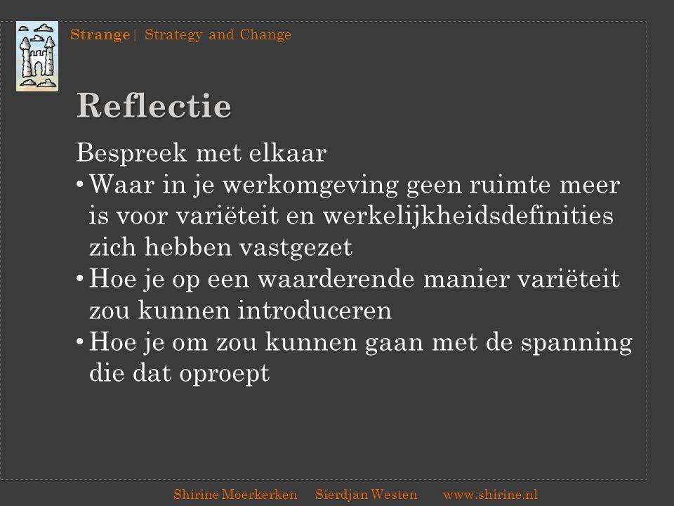 Strange | Strategy and Change Shirine Moerkerken Sierdjan Westenwww.shirine.nl Reflectie Bespreek met elkaar Waar in je werkomgeving geen ruimte meer