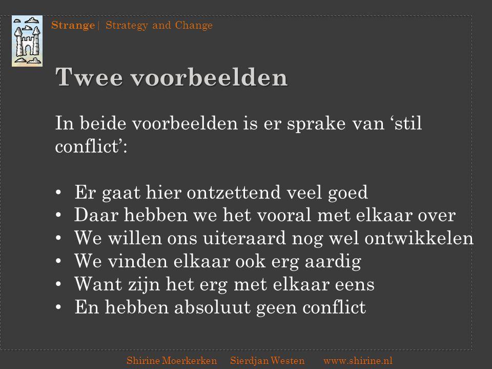 Strange | Strategy and Change Shirine Moerkerken Sierdjan Westenwww.shirine.nl Twee voorbeelden In beide voorbeelden is er sprake van 'stil conflict':