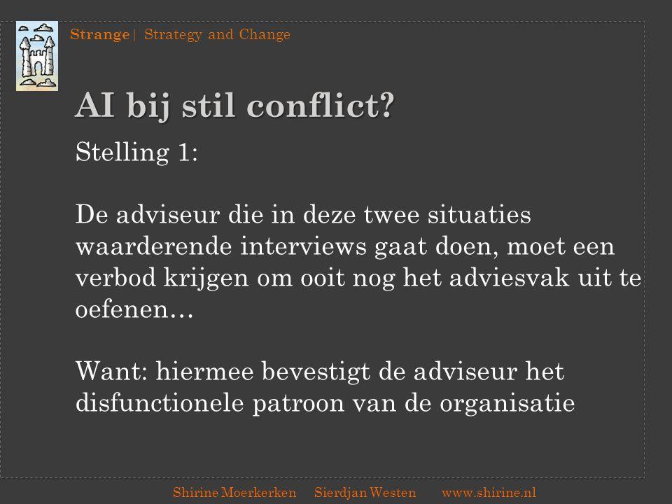 Strange | Strategy and Change Shirine Moerkerken Sierdjan Westenwww.shirine.nl AI bij stil conflict? Stelling 1: De adviseur die in deze twee situatie