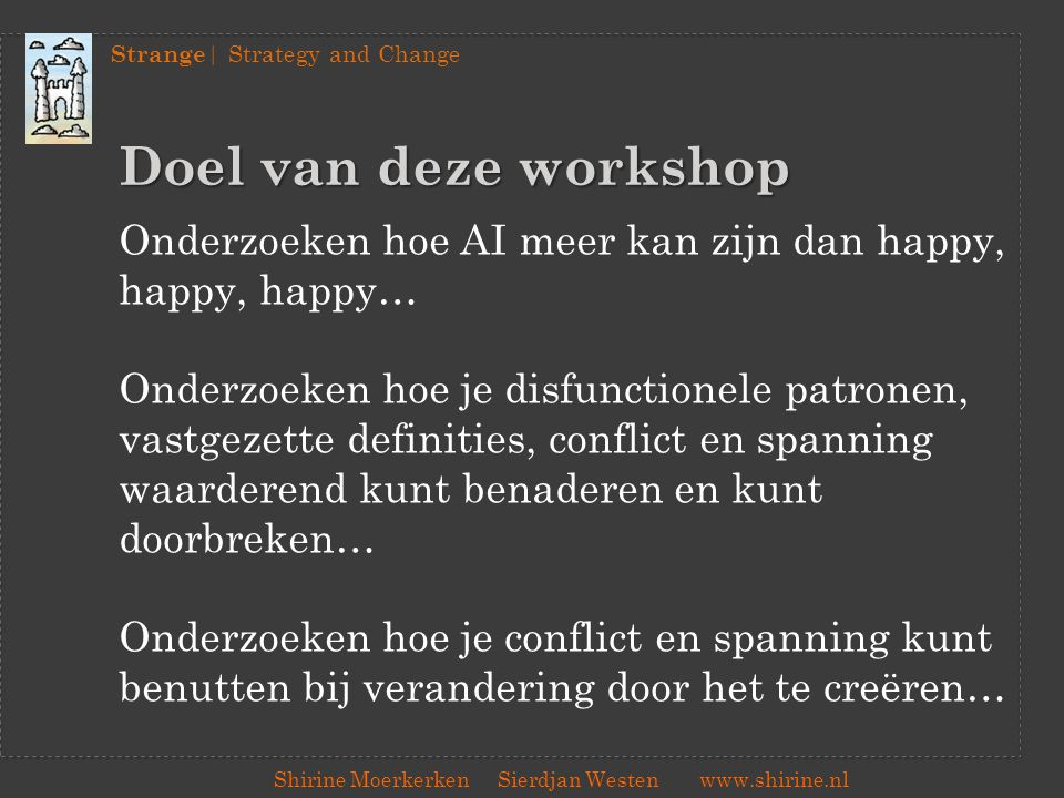 Strange | Strategy and Change Shirine Moerkerken Sierdjan Westenwww.shirine.nl Doel van deze workshop Onderzoeken hoe AI meer kan zijn dan happy, happ