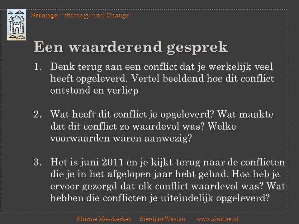 Strange | Strategy and Change Shirine Moerkerken Sierdjan Westenwww.shirine.nl Een waarderend gesprek 1.Waar waren jullie het meteen over eens.