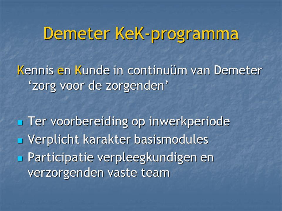 Demeter KeK-programma Kennis en Kunde in continuüm van Demeter 'zorg voor de zorgenden' Ter voorbereiding op inwerkperiode Ter voorbereiding op inwerkperiode Verplicht karakter basismodules Verplicht karakter basismodules Participatie verpleegkundigen en verzorgenden vaste team Participatie verpleegkundigen en verzorgenden vaste team