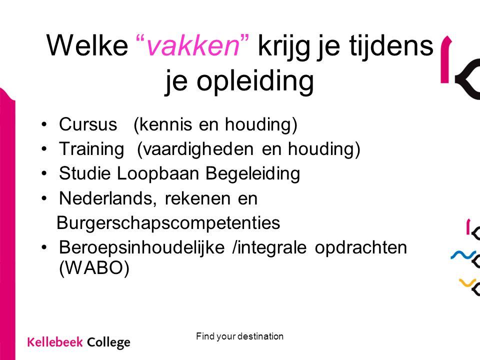 """Welke """"vakken"""" krijg je tijdens je opleiding Cursus (kennis en houding) Training (vaardigheden en houding) Studie Loopbaan Begeleiding Nederlands, rek"""