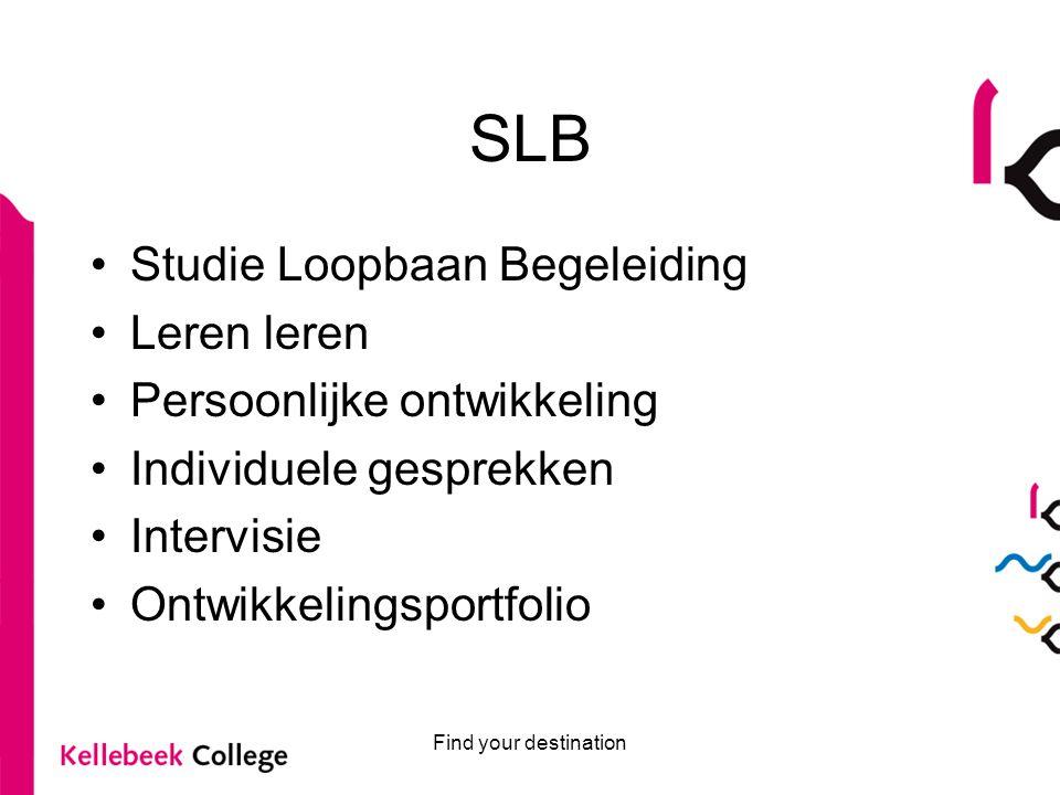 SLB Studie Loopbaan Begeleiding Leren leren Persoonlijke ontwikkeling Individuele gesprekken Intervisie Ontwikkelingsportfolio Find your destination