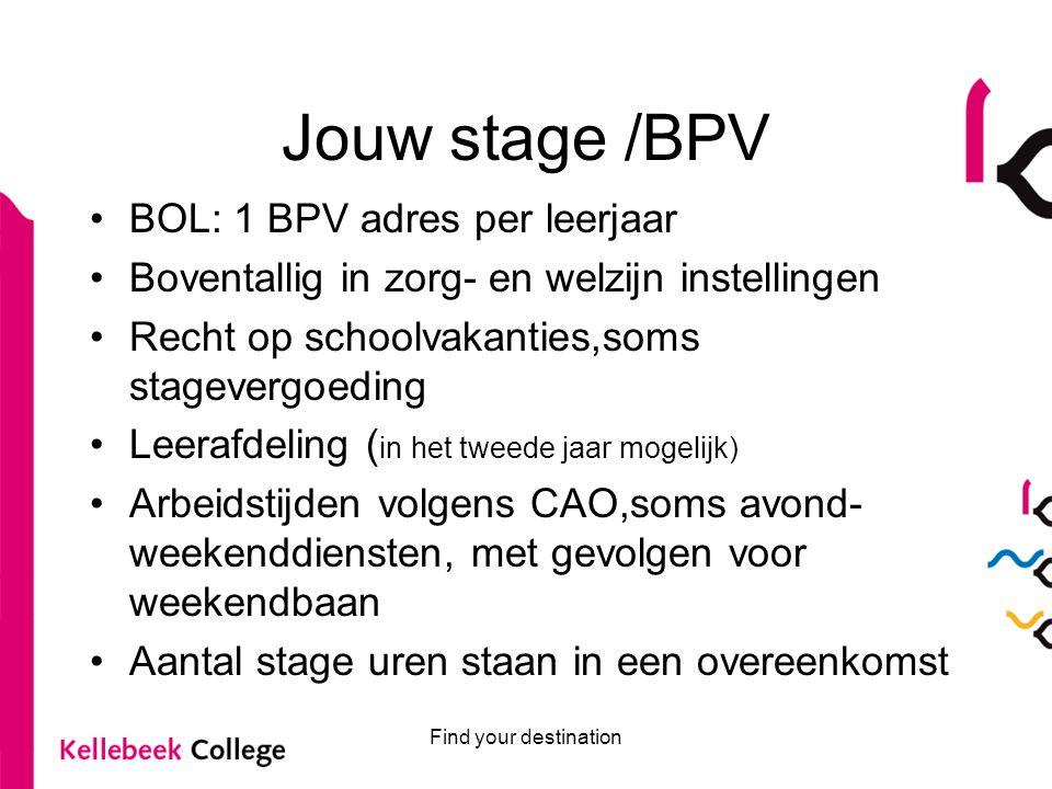 Find your destination Jouw stage /BPV BOL: 1 BPV adres per leerjaar Boventallig in zorg- en welzijn instellingen Recht op schoolvakanties,soms stageve