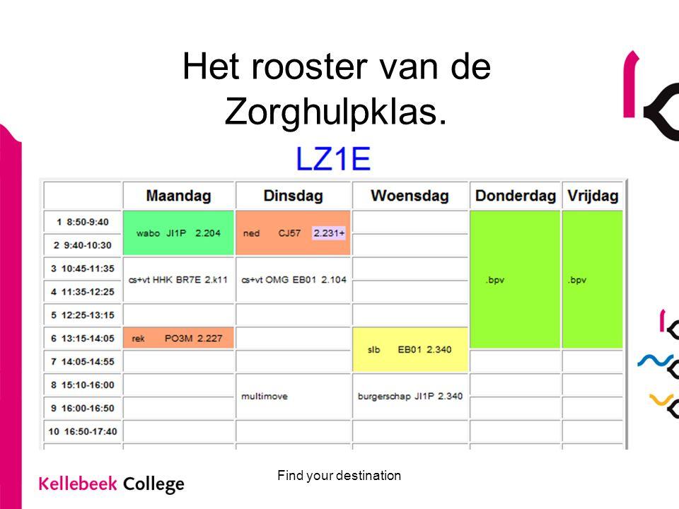 Find your destination Het rooster van de Zorghulpklas.