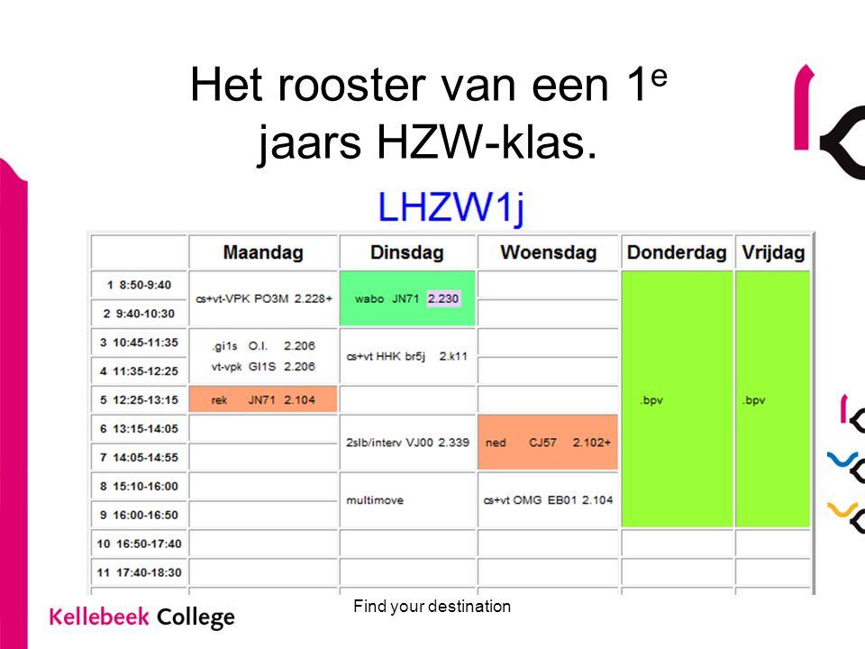 Find your destination Het rooster van een 1 e jaars HZW-klas.