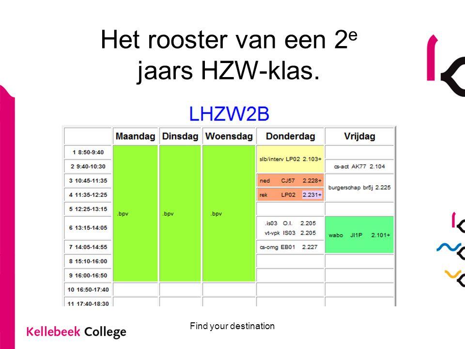Find your destination Het rooster van een 2 e jaars HZW-klas.
